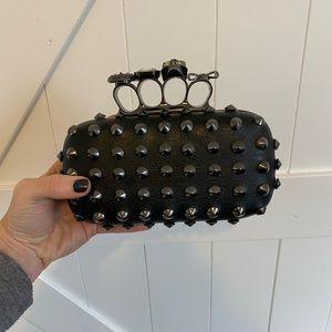 Studded black clutch